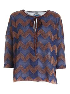 M Missoni - Zig Zag lurex blouse blue and copper color