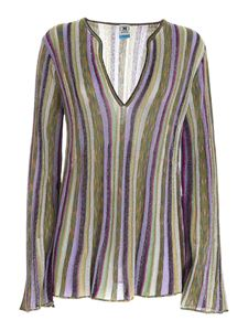 M Missoni - Lamé flared sweater in green and purple
