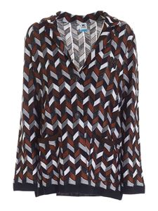 M Missoni - Chevron knitted jacket in blue brown and white