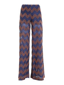 M Missoni - Zig Zag lurex pants in blue and copper color