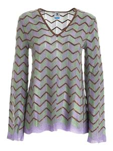 M Missoni - Zig Zag lurex sweater in green lilac and brown