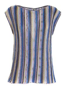 M Missoni - Lamé knitted top in shades of blue and purple