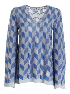 M Missoni - Zig Zag lurex sweater in blue and grey