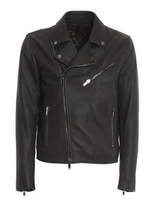 Tagliatore - Napa leather biker jacket in brown