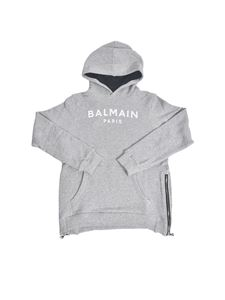 Balmain - Hoodie with side zip in grey