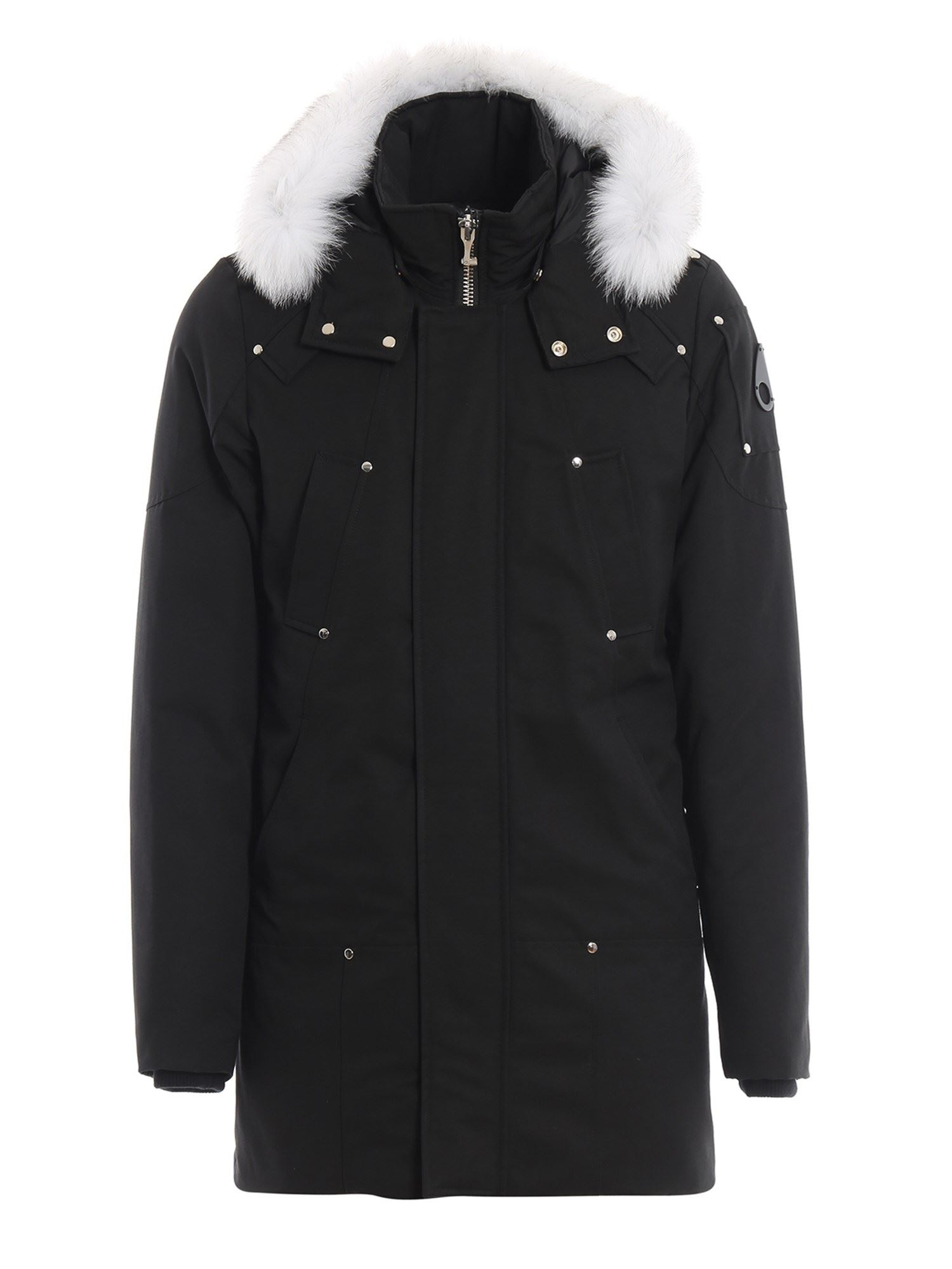 Moose Knuckles TOUGH COTTON DOWN PADDED BLACK PARKA IN BLACK