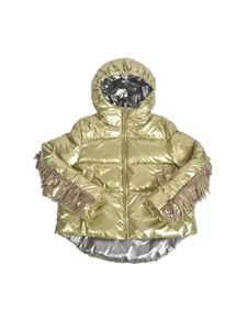 Monnalisa - Down jacket with fringes in laminated green
