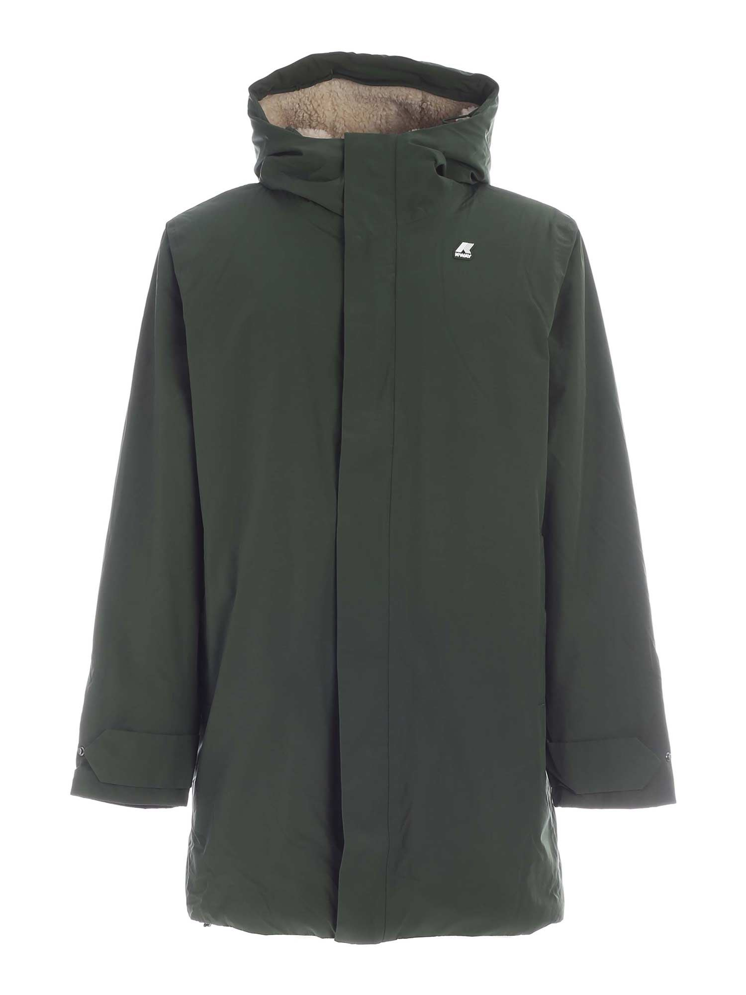 K-Way JACOB NYLON SHEEPSKIN DOWN JACKET IN GREEN