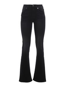 7 For All Mankind - Faded denim bootcut jeans in black