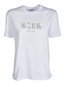 MSGM - T-shirt with logo embroidery in white