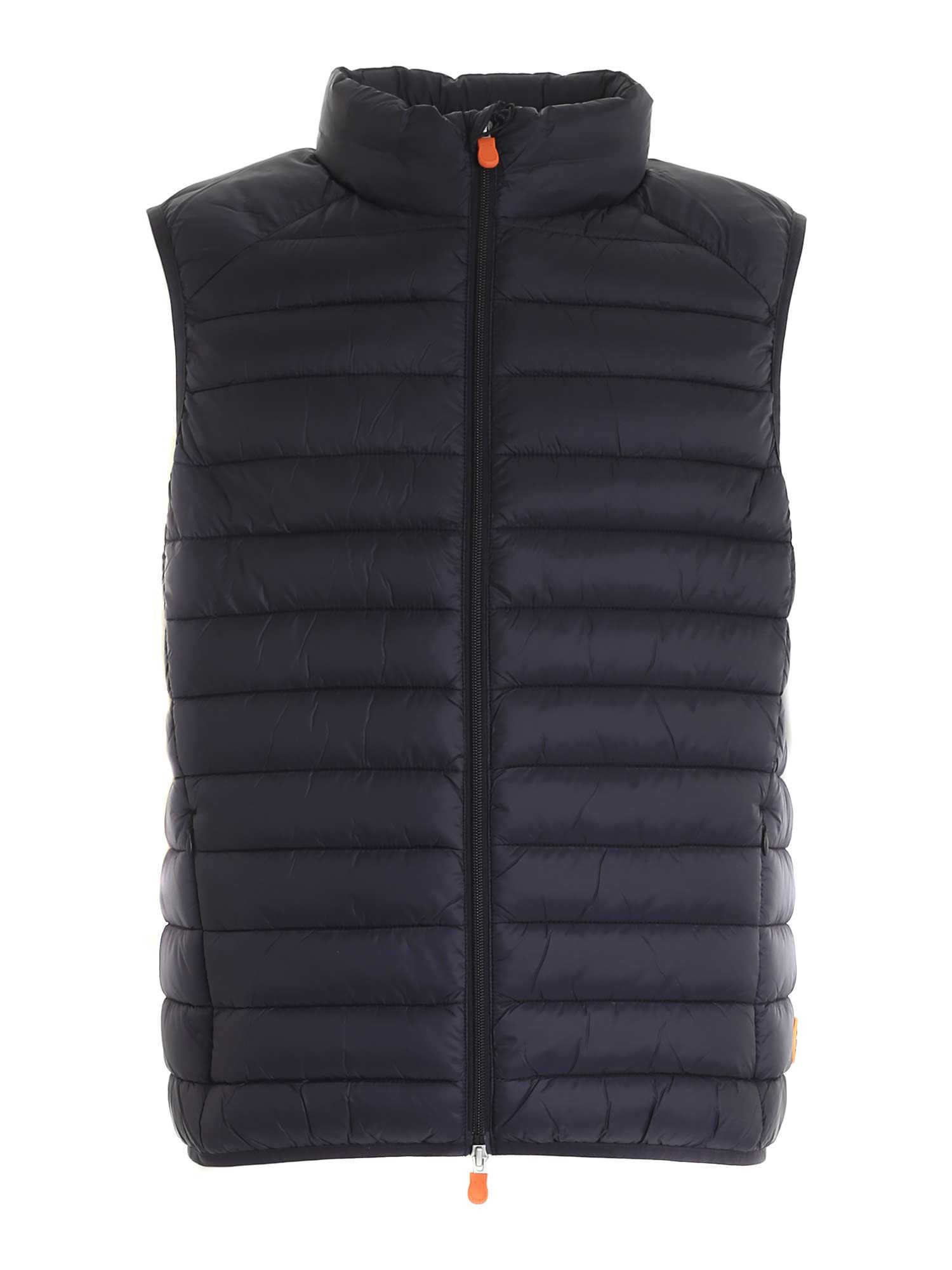 Save The Duck LOGO PATCH SLEEVELESS DOWN JACKET IN BLACK