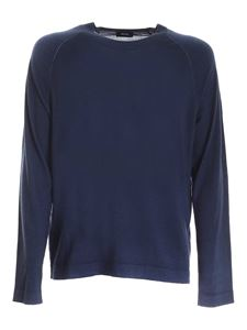 Z Zegna - Pullover in blue melange with reverse stitching