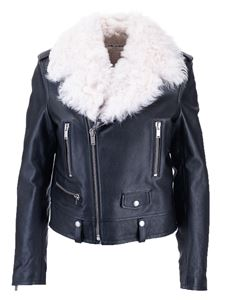 Saint Laurent - Giacca in pelle nera con shearling