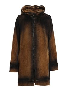 Avant Toi - Faux fur zipped coat in brown
