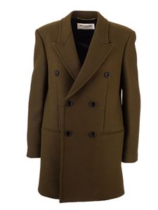 Saint Laurent - Cappotto doppiopetto in lana marrone