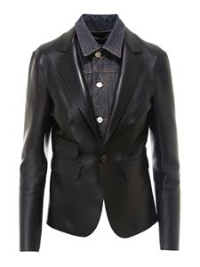 Dsquared2 - Denim insert leather blazer in black