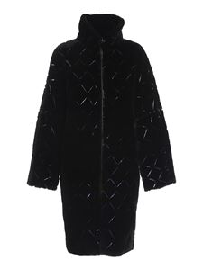 Emporio Armani - Leather and shearling reversible coat in black