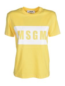 MSGM - Branded crewneck T-shirt in yellow