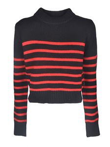 Woolrich - Pullover in black with red stripes