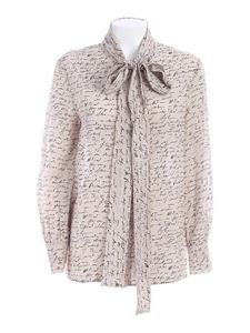Les Copains - Ribbon shirt in light beige and black