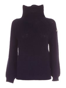 Les Copains - Logo patch high neck pullover in blue