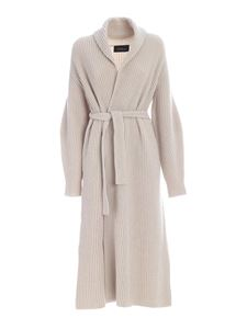 Les Copains - Ribbed long cardigan in light beige