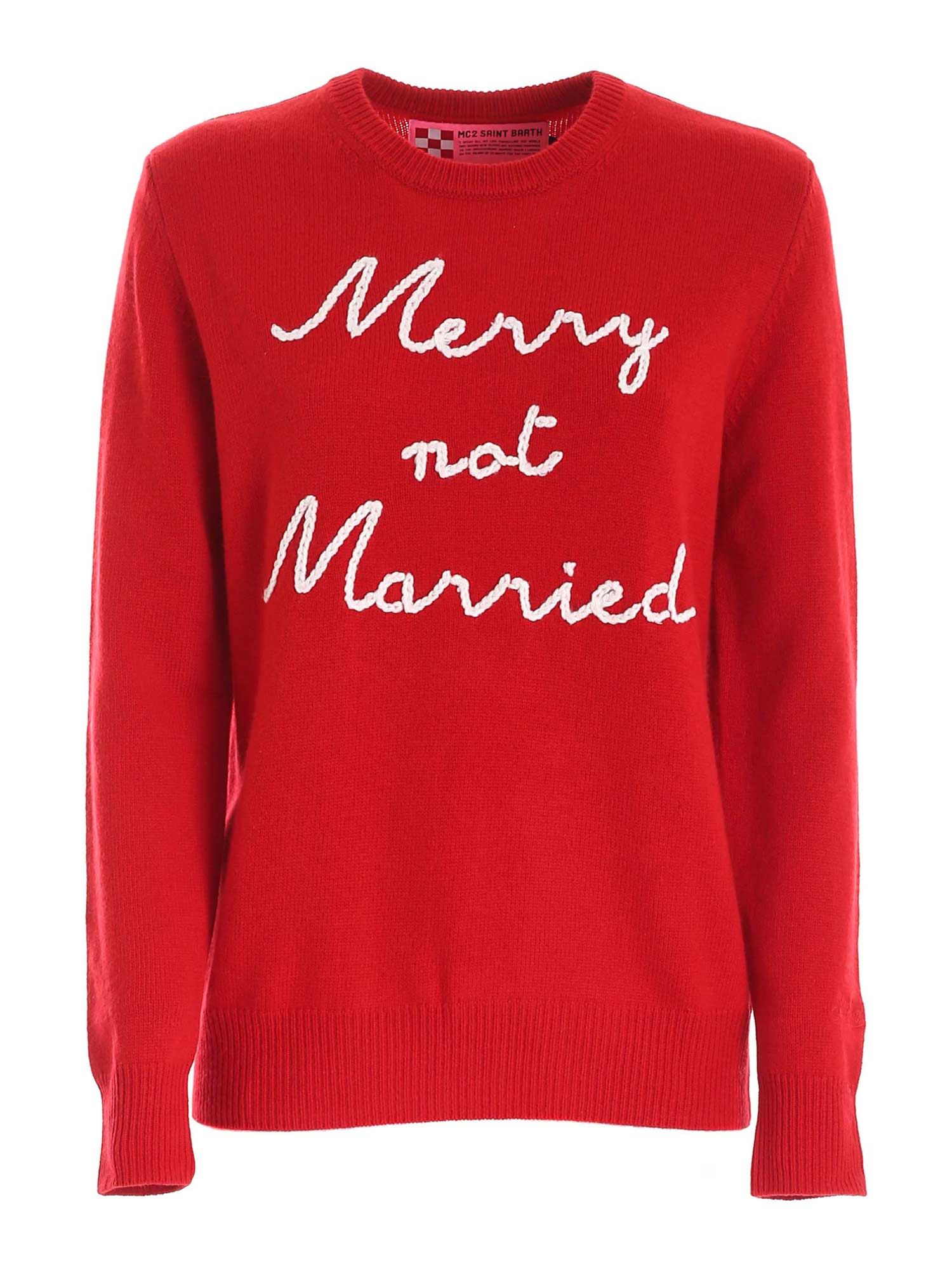Mc2 Saint Barth MERRY NOT MARRIED EMBROIDERY PULLOVER IN RED
