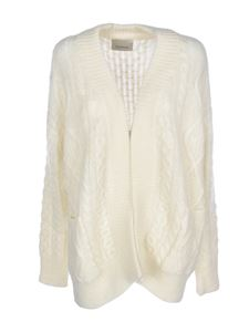 Laneus - Knitted cardigan in ivory color