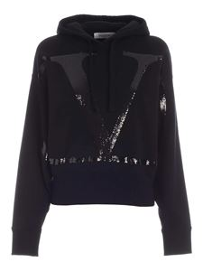 Valentino - Sequin logo sweatshirt in black