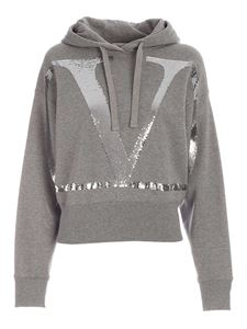 Valentino - Sequin logo sweatshirt in grey
