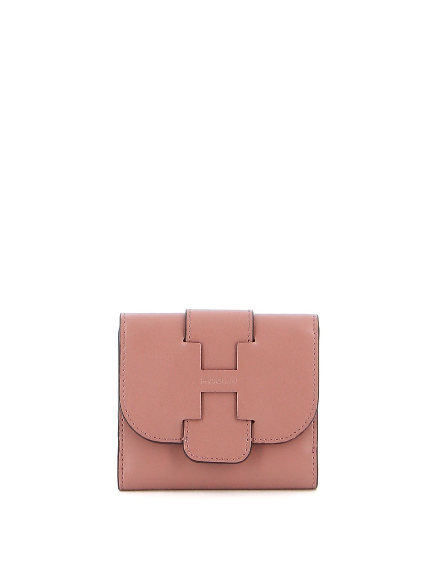 Hogan TRI-FOLD LEATHER WALLET IN PINK