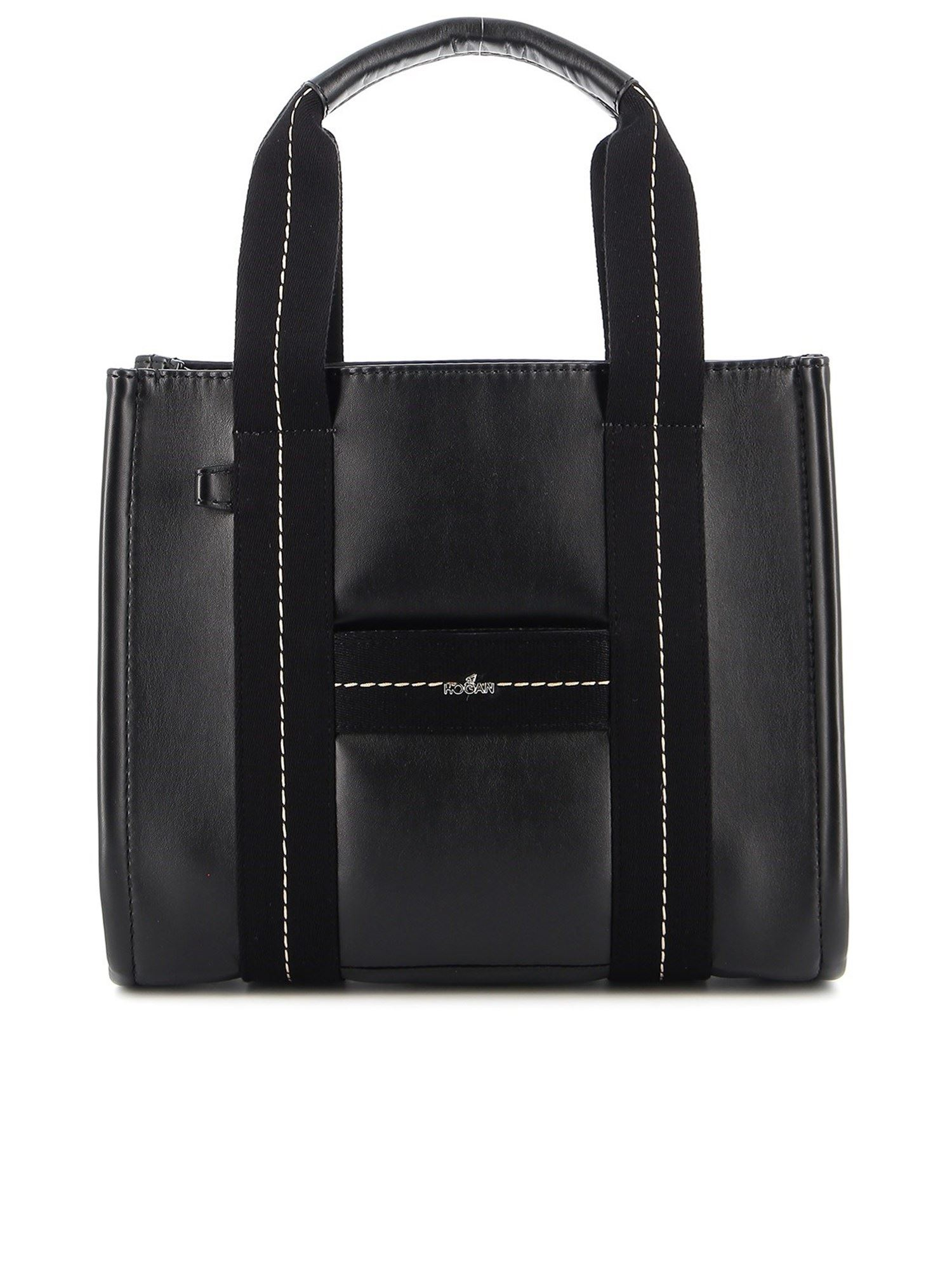Hogan SMOOTH LEATHER TOTE BAG IN BLACK