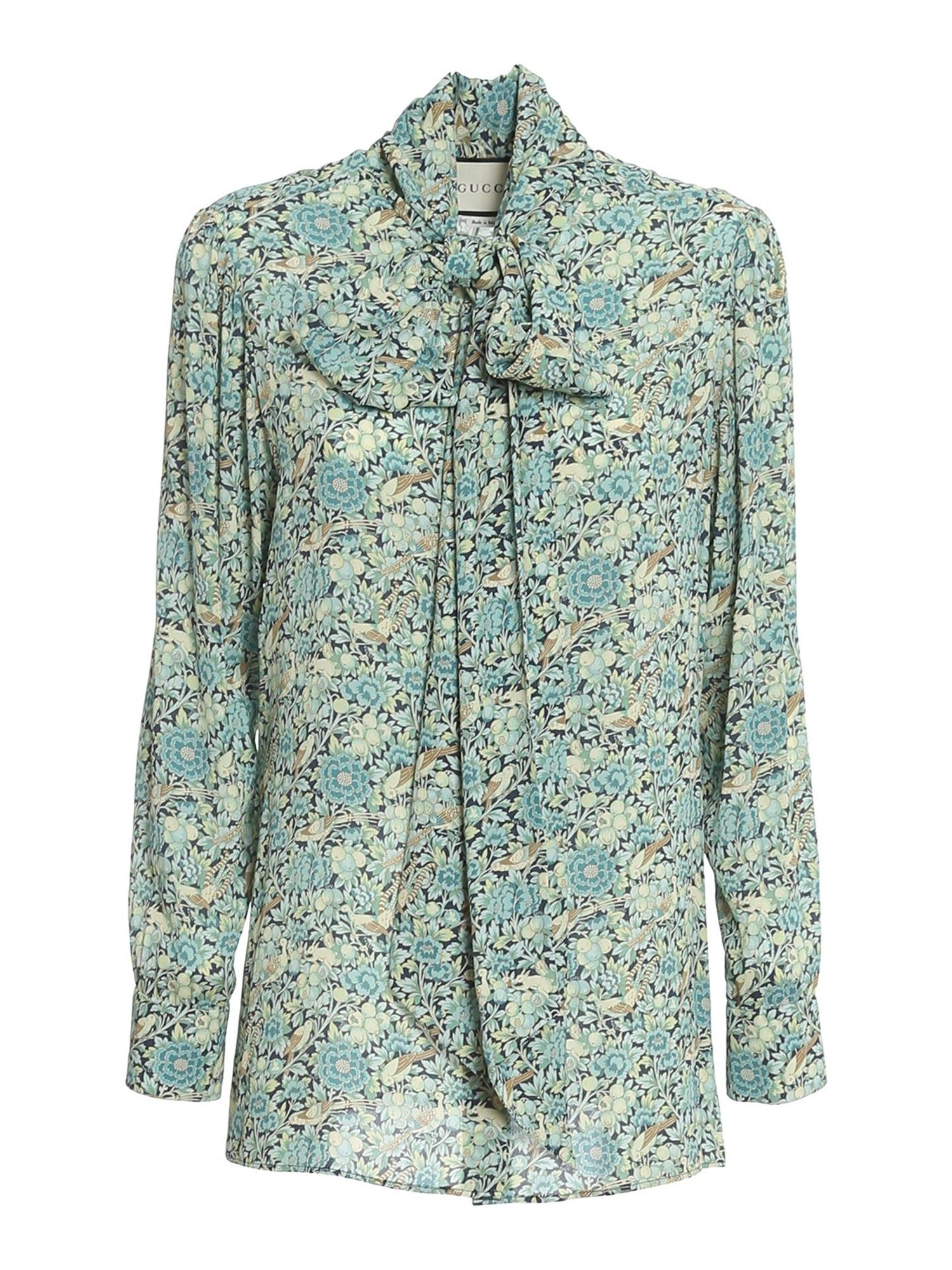 GUCCI LIBERTY PRINT BLOUSE IN LIGHT BLUE