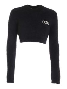 GCDS - Cropped logo pullover in black