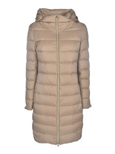 Herno - Long quilted down jacket in beige