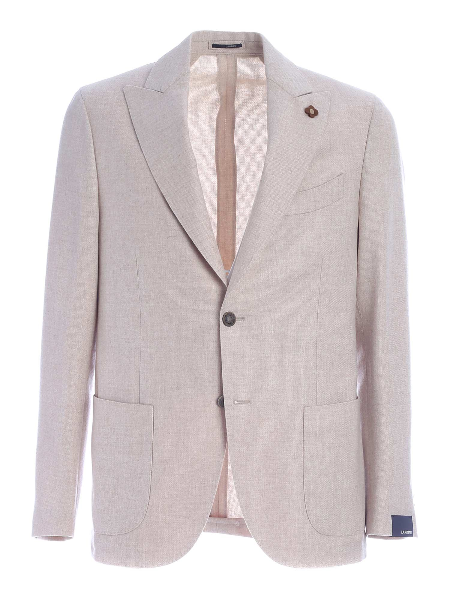 Lardini SINGLE-BREASTED JACKET IN BEIGE