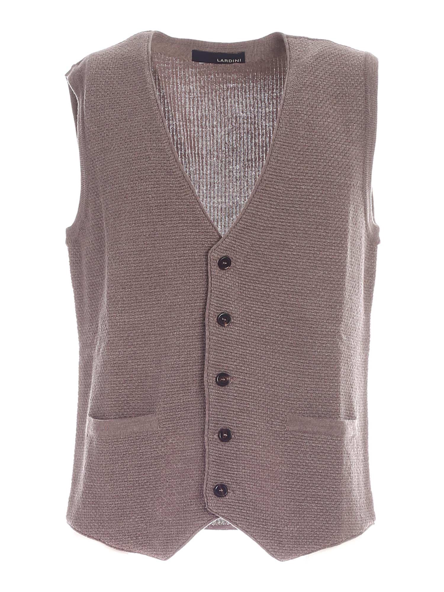 Lardini KNITTED VEST IN DOVE GREY COLOR