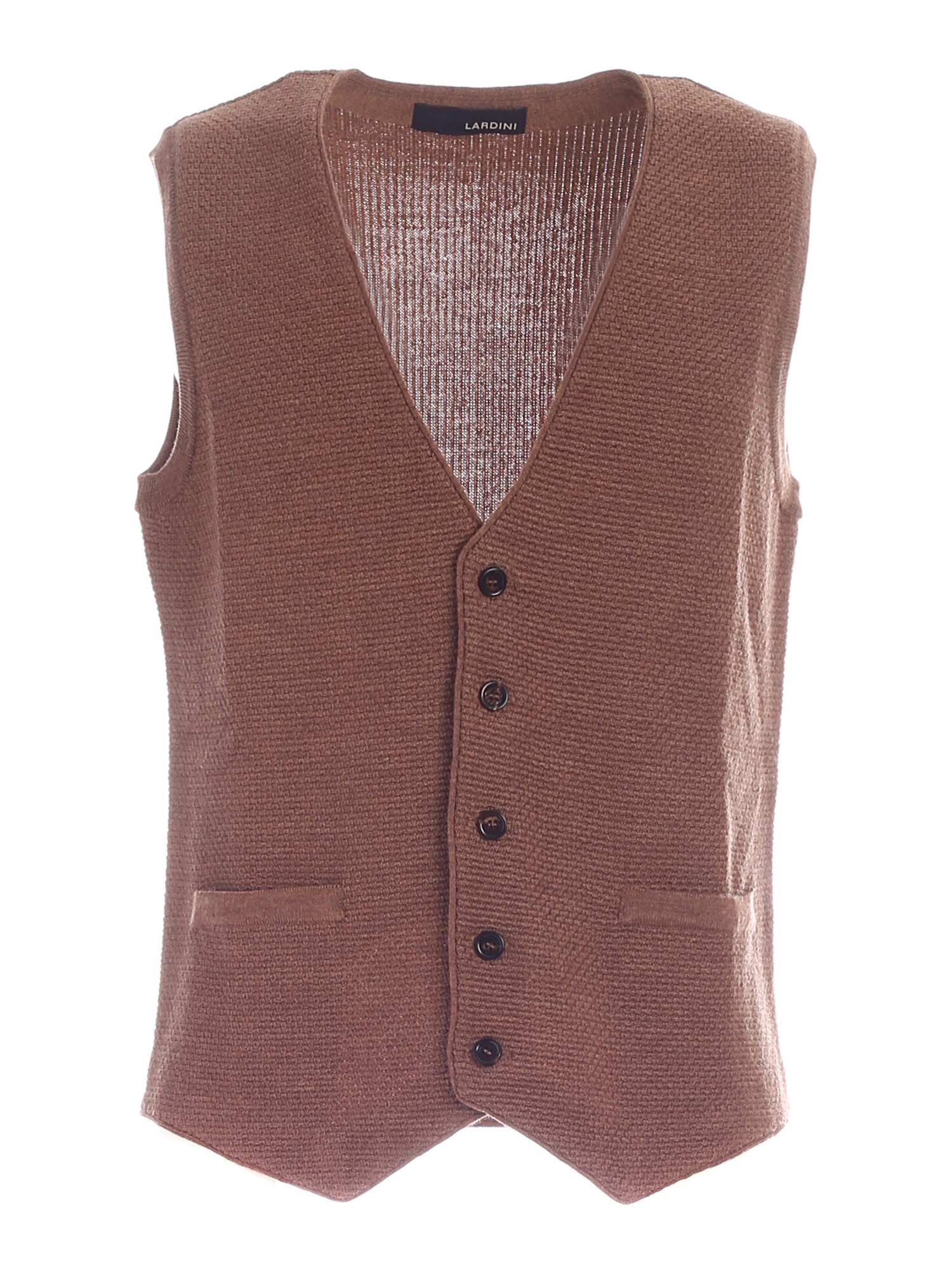Lardini KNITTED VEST IN CAMEL COLOR