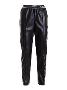 Ermanno Scervino - Faux leather wide leg trousers in black