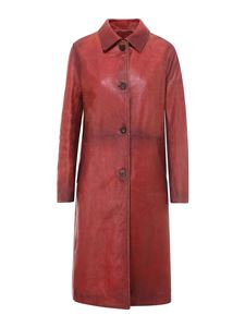 Golden Goose - Knee-length leather coat in red