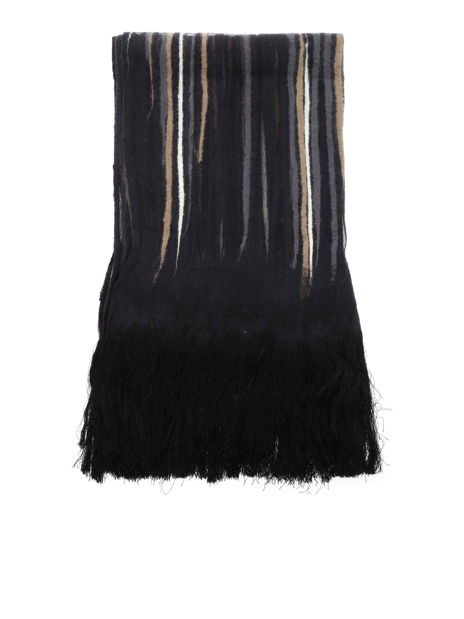 Faliero Sarti OLIMPIA MESH AND WOOL SCARF IN BLACK