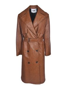 MSGM - Synthetic leather long coat in brown