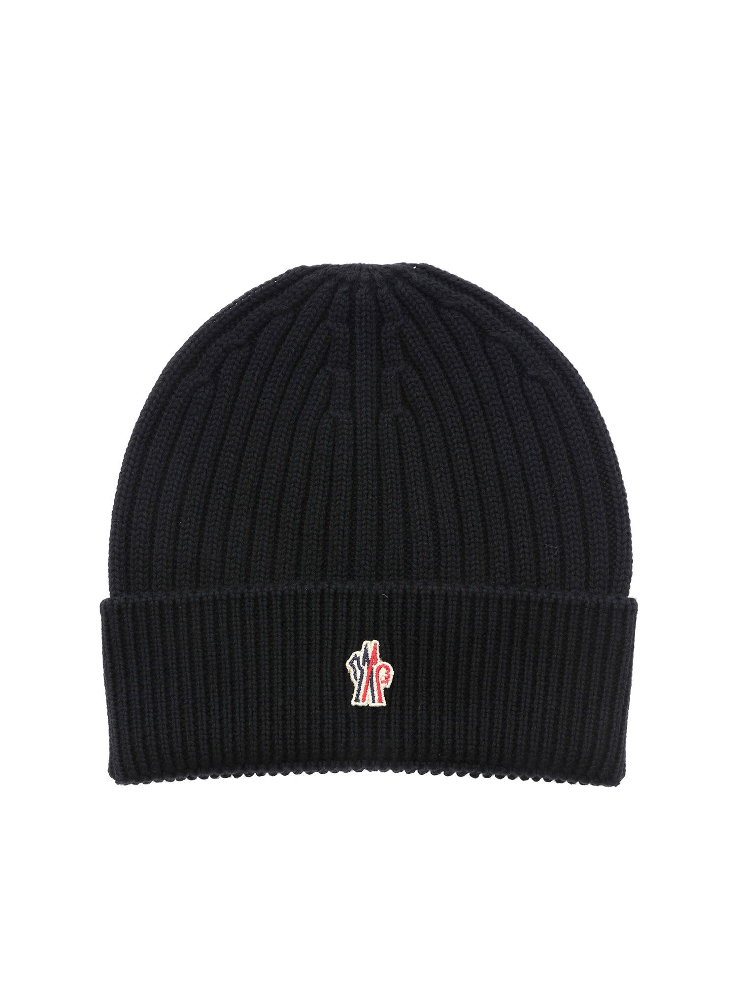 Moncler Grenoble RIBBED BEANIE IN BLACK