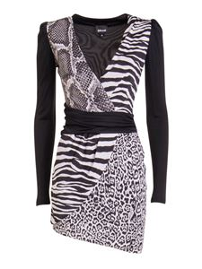 Just Cavalli - Animal print jersey mini dress in black