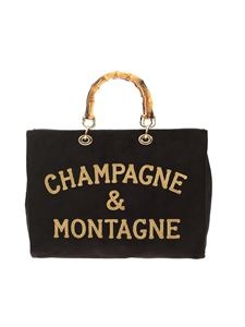MC2 Saint Barth - Champagne & Montagne embroidery black shopper