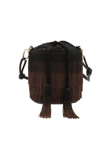 Gum Gianni Chiarini - Fringes bucket bag in black and brown