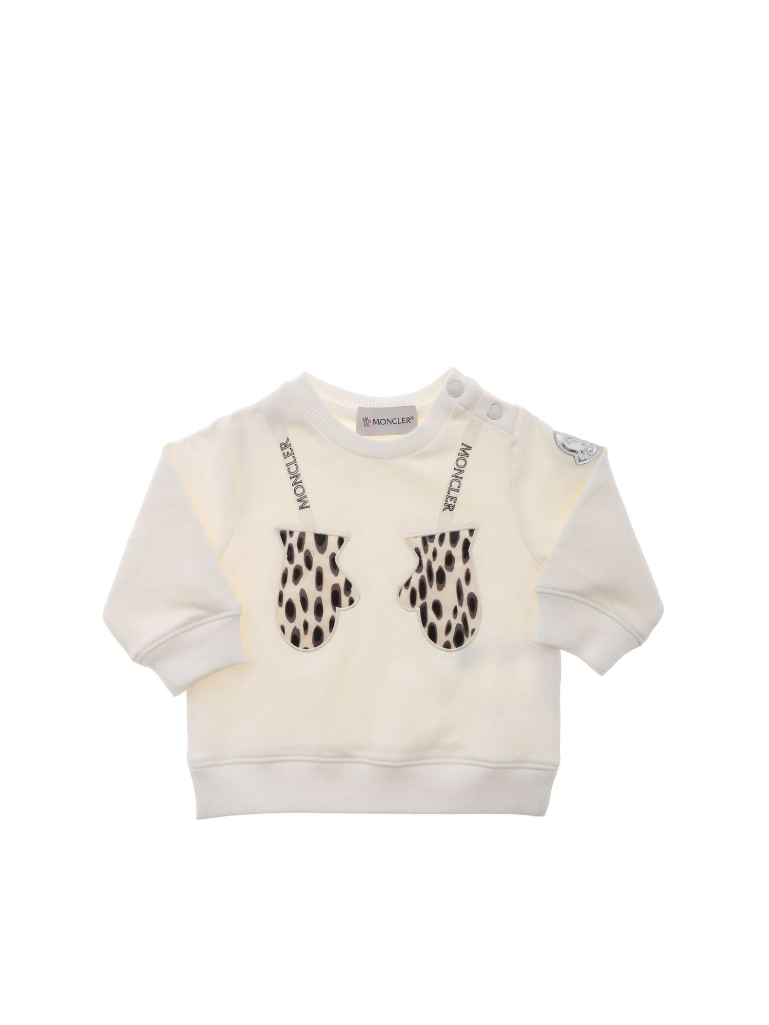 Moncler Jr ANIMAL PRINT PATCH SWEATSHIRT IN IVORY COLOR