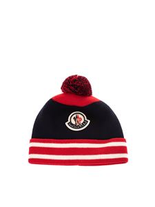 Moncler Jr - Pom pom beanie in blue and red