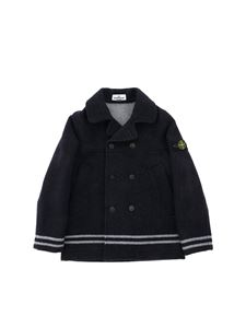 Stone Island Junior - Logo patch double-breasted blue coat in blue