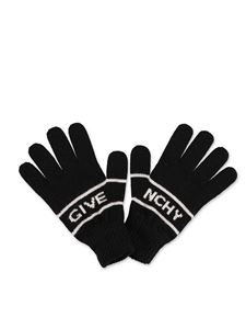 Givenchy - Black gloves with logo inlay